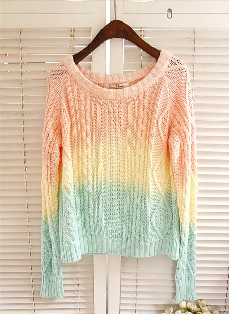 Ice Cream Candy Jumper Ombre Sweaters Vintage Women